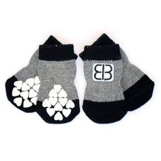 Petego Traction Control X-Large Indoor Socks for Dogs, Black/Gray, Set of 4