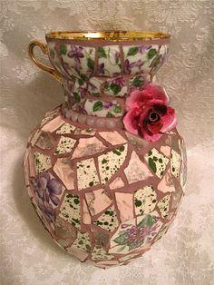 Violets Violets Pique Assiette Mosaic Vase (Available)