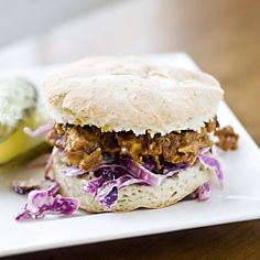 BBQ Pork Pulled Sandwich served on a gluten free bun with homemade coleslaw