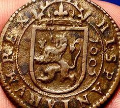 LARGE OLD SPANISH COIN 1605 PIRATE TREASURE 8 MARAVEDIS COB!