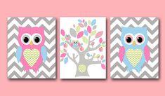 Owl Decor Owl Nursery wall art print Baby Girl room decor