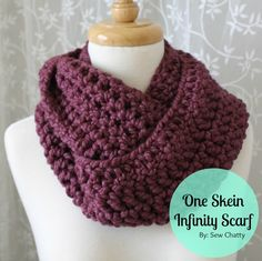 Sew Chatty: {One Skein Infinity Scarf Pattern} tutorials, infinity scarfs, handmade gifts, scarves, skein infin, crochet patterns, yarn, infin scarf, scarf patterns