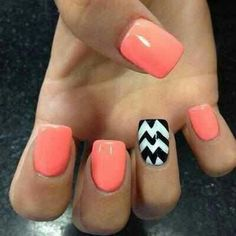 coral, color, nail designs, summer nails, black white, nail arts, peach, beauti, chevron nails