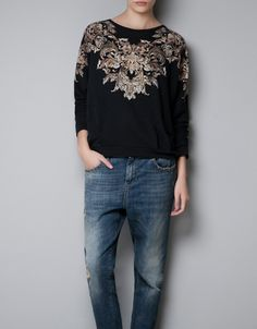 BAROQUE-PRINT SWEATER - T-shirts - TRF - ZARA