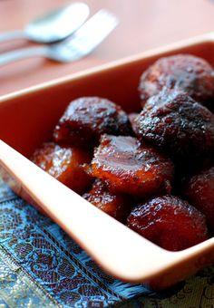 Gulab Jamun (Indian deep fried dough balls with cardamom sugar syrup)