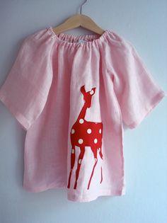 So sweet! Linen Deer Dress TreefallDesign