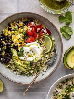 Baja Grain Bowls - Baja Grain Bowls with Cilantro Lime Vinaigrette