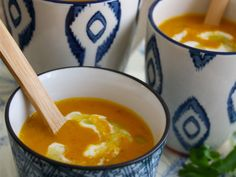 Eat More Yogic: Creamy Carrot Yam Soup  We have been posting several delicious recipes from her before so we're really excited to announce our collaboration with Kyra's Kitchen! Kyra has developed a lovely creamy carrot yam soup with cashew lime cream and cilantro oil especially for Be More Yogic. It only takes 10 minutes to prepare. Good food for yogis we say!  Creamy Carrot Yam Soup Recipe developed by Kyra's Kitchen