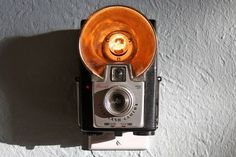 Upcycled vintage camera nightlight