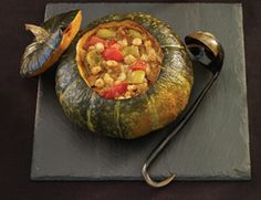 Spicy Fall Stew Baked in a Pumpkin - sub with vegan cheese or omit. #vegan