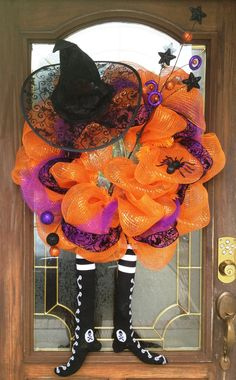 mesh wreaths | Halloween Mesh Witch Wreath by PinkTulipOfDaphne on Etsy