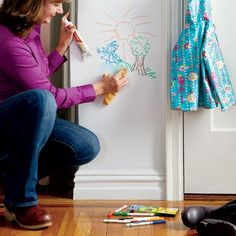Tip: clean marker from painted surfaces with toothpaste. Can you say genius?