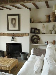 cottag, living rooms, exposed beams, fireplac, kitchen interior, design kitchen, shelv, kitchen designs, wood beams