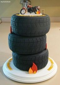 How cute is this?!! Tire Cake for grooms cake but maybe a truck on top instead of the bike.