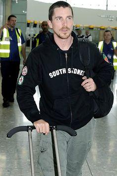 Christian Bale at Heathrow Airport, 2008.
