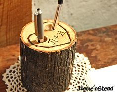 Rustic Wedding Guest Book Pen Holder Table Center by HomenStead, $15.00. Etsy.