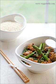 Asparagus & Tempeh Stir Fry With Ginger Pearl Couscous