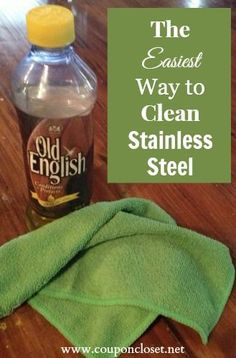 The easiest way to clean stainless steel is with Old English and a microfiber cloth! Leave your stainless looking like new!