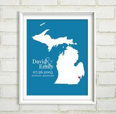 Michigan inspired wedding gift idea