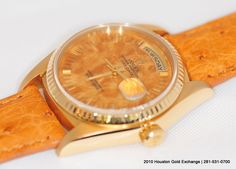 18K #Rolex Day Date #President with the rare Honey Birch #wood dial with a matching color #Ostrich leather strap. This watch sold in no time. Circa 1982 #mensfashion