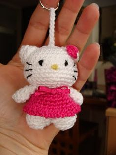 hello kitty crochet key chain crochet gift(3 of my grandaughters are crazy about Hello Kitty, and would love this!ca)