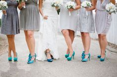 Bright Shoes for Bridesmaids / alternative wedding shoes / bright blue / electric / turquoise wedding details!