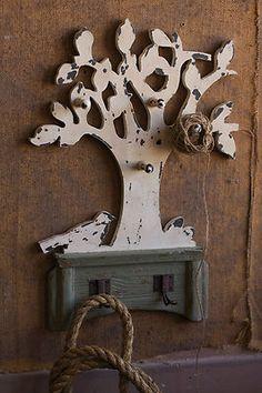 Reclaimed Wood Bird Tree Wall Hooks
