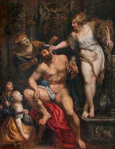 """Un buen tirón de orejas. Rubens, """"Hércules y Onfale"""" (1602-1605), Museo del Louvre, París Del post: http://harteconhache.blogspot.com.es/2013/07/hercules-de-profesion-sus-labores.html"""