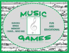 MUSIC GAMES: Bingo, Sudoku, Memory.... great for reinforcing theory concepts! $