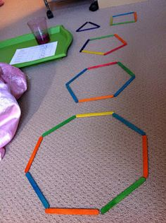 Various shape activities. use Popsicle sticks to make shapes and talk about how many sides they have.