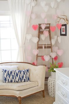 Hanging Valentine's Day Heart Doilies