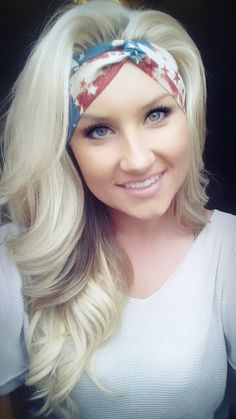 American Flag headband on etsy.com/shop/thewoodenanlter. Blonde hair perfect curls makeup eyeshadow eyelashes scarf scarves skin foundation red white and blue fourth of july merica murica