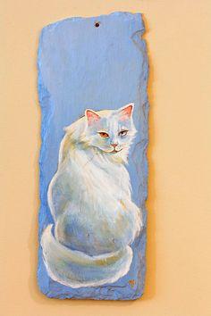 Cats Eye  Acrylic Painting on Slate by NightingaleArts on Etsy, $