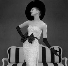 Photographed by John French, 1957 white style, 1950s dresses, evening gowns, john french, black white red, evenings, timeless fashion, hat, vintage style