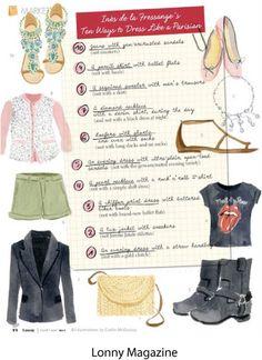 Inès de La Fressange's ten ways to dress like a parisian (Caitlin McGauley - illustrations)