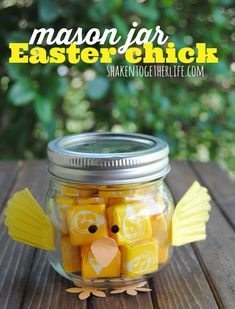 Mason Jar Easter Chick Gift filled with Starbursts -- Love this! | shakentogetherlife.com
