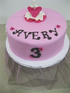 Ballerina Birthday #1 - This is a fondant covered sweet with ballerina themed fondant accents.  www.pinkpiggysweets.com