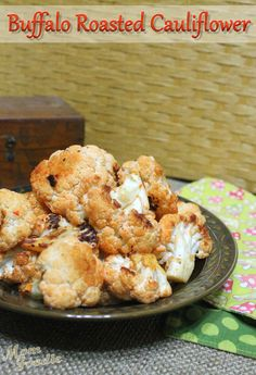 Buffalo Roasted Cauliflower - this low-cal, high-fiber dish would make a great #Superbowl Sunday snack!