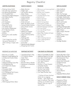 baby checklist......