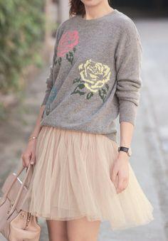 flower sweater + tulle skirt