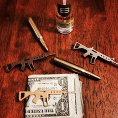 Few of our ar15 custom tie money clips 3dprinted by @shapeways