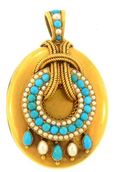 Victorian locket with turquoise and pearls