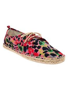 Part sneaker, part espadrille, and new for spring in an Impressionistic floral plus dots and stripes, too; $35