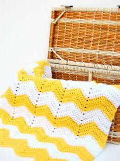 Crochet Baby Blanket Chevron Crochet Baby by HopscotchLane