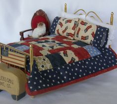 Dollhouse Miniature Quilt - Americana in 1/12 scale. $36.00, via Etsy.