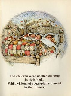 Page from Holly Hobbie's illustrations of 'Twas the Night Before Christmas 2007