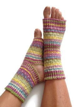 Toeless Yoga Socks Hand Knit in Sporty Stripes Pedicure Pilates Dance $35.00 #yogasocks #socks #cozy #stripes #sporty #pastel #pedicure #dance #workout #toeless