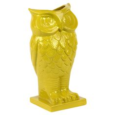 chartreuse-yellow owl planter