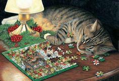 Avril Haynes - Purring Puzzler. #Christmas #art #cute #cats cats, cat art, kitti art, christmas art, cat meow, christma art, christma kitti, christma cat