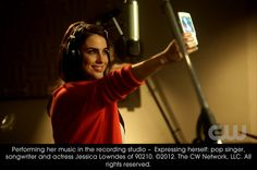 Performing her music in the recording studio - Expressing herself: pop singer, songwriter and actress Jessica Lowndes